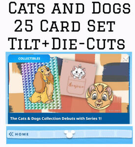 CATS AND DOGS COLLECTION-25 CARD SET-TILT/DIECUT+-TOPPS DISNEY COLLECT