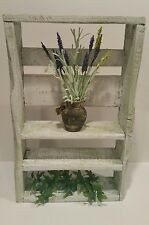 White & Green distressed Rustic Shabby Chic country decor  hanging wall shelf