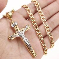 "Cross Necklace Stainless Steel Jesus Men Women Boy Religious Graduation Gift 24"""