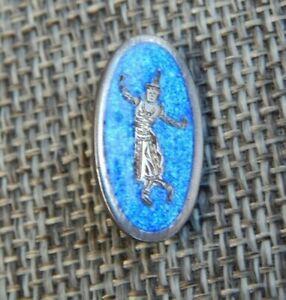 "Antique Vtg Enamel Sterling Silver Button Siam Thai Nakon~Aprx:3/4""~#1006-C"