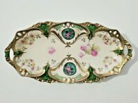 R.S. Prussia Point and Clover Celery Dish  with Roses, Snowballs and Opal Jewels