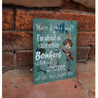 Alice In Wonderland Bonkers - VINTAGE ENAMEL METAL TIN SIGN WALL PLAQUE