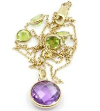 Amethyst,Peridot & Citrine Necklace with Lariat,14K Yellow Gold Lobster Lock