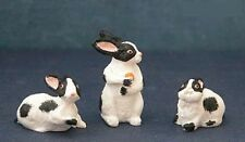BUNNY RABBIT SET OF 3 FOR 1:12 Scale Dollhouse Miniature Adult Collectable