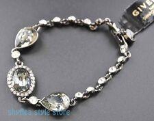 Givenchy Bracelet Gunmetal Pear Swarovski Elements Faceted Stone Elegant Crystal