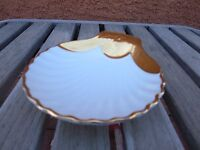 Royal Worcester Shell Plate Gold and White Made in England Fine China