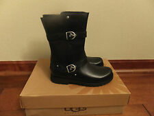 Sz 3 UGG Kids Youth Girls Roxanne Black Leather Motorcyle Style Boots 1002068