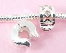 10pcs Silver Clip Lock Stopper Beads Fit Bracelet T02