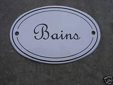 """Plaque émaillée ovale """" Bains """" émail véritable 800°C Fabriquée en France neuve"""