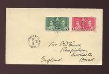 NEWFOUNDLAND 1938 HEARTS CONTENT POSTMARK KG6 CORONATION FRANKING to DORSET GB
