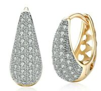 14K Gold Plated White Topaz Pave Huggie Earring with Swarovski Crystal ITALY