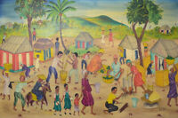 Y. Jn. René, Haitian artist. Naivist school. Oil on canvas. 1970's Village scene