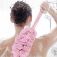 Bathroom Shower Scrubber Loofah Sponge Bath Body Back Brush with Long Handle IN9