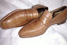 Ermenegildo  Zegna tan leather penny loafers  Napoli Couture XXX sz12.5