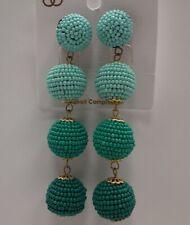 Boho Style MINT TURQUOISE textured beaded Balls Dangle Stud Earrings N31-12/22