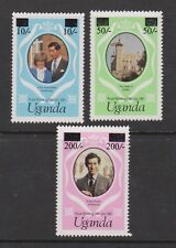 1981 Royal Wedding Charles & Diana MNH Stamp Set Uganda SG 341a-343a Small Opt