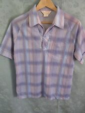 60's Don Giovanni California Shadow Plaid Polo Shirt Size Small Raglan Sleeve
