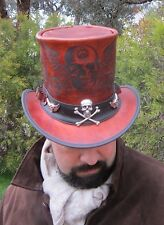 LEATHER STEAMPUNK TOP HAT WITH SKULL 'N WINGS ENGRAVING, WITH BULLET HAT BAND