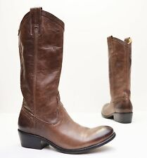 Frye Carson Smoke Brown Leather Pull On Boots Western Riding 77671 Sz 6.5 B $378