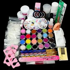 Nail Art Acrylic Powder Liquid Primer Half Nail Tips Glue Salon Diy Glitter Set