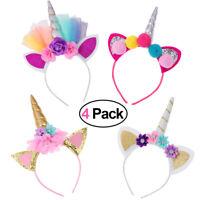 4x Einhorn Haarreif mit Ohren Kopfschmuck Fantasy Accessoire Unicorn Haarreifen