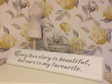 Shabby Chic Stile Vintage ogni storia d'amore bellissimo in legno Piastra a Parete Firmare