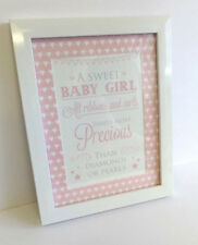 BABY GIRL PHOTOFRAME PLAQUE SIGN GIFT PRESENT BABY SHOWER UK