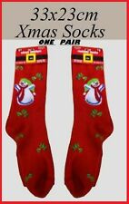 1 pr RED CHRISTMAS SOCKS Xmas Snowman Holly Sprig Men Women Adult Teen Gift NEW