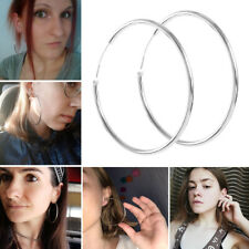 Oval Shaped Extra Large Hoop Earrings 1 Pair Womens 925 Sterling Silver Elegant