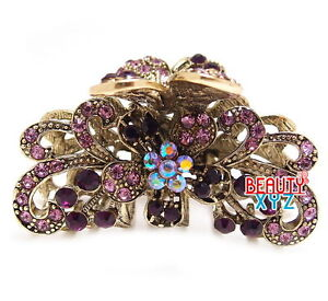 Purple Crystal Bronze Metal Alloy flower / butterfly hair claws clips pins