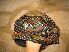 Vintage ETRO Milano Ladies Size L Black Pure Silk  Beads Art Dec Beret Hat