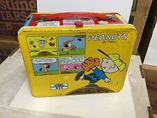 Peanuts yellow rare metal lunch box w/thermos1970s