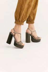 Jeffrey Campbell Free People Sz 8 Breakaway Platform Heel Sandal Snake Print New