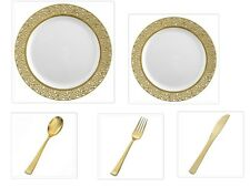 White w/Gold Lace China-like Plastic Plates Cutlery Set 500 Pieces Wedding