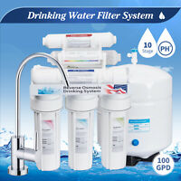 10 Stage Home RO Drinking Water Filter Reverse Osmosis System Alkaline 100 GPD