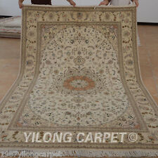 Yilong 6'x9' Handmade Wool Silk Area Rugs Yellow Handiwork Medallion Carpet 1454