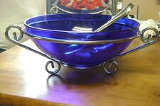 COLBALT BLUE CRYSTAL SALAD BOWL WITH HOLDER AND SERVERS
