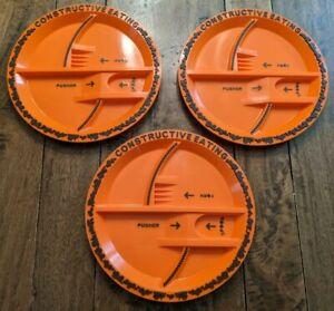 Constructive Eating PLATES set of 3 construction orange divided kids LOT
