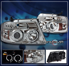 2004-2008 FORD F-150 DUAL HALO LED PROJECTOR HEADLIGHT LAMP CLEAR 2005 2006 2007