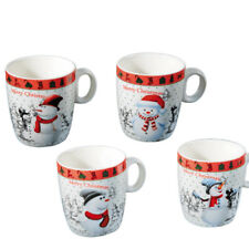 SET OF 4 COFFEE TEA DRINKING MUG CUP XMAS SNOWMAN CHRISTMAS BONE CHINA GIFT NEW