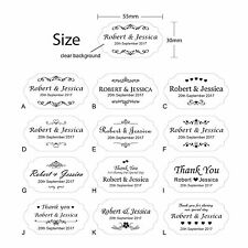 100 x Personalised Clear Wedding Bomboniere Envelope Sticker Seals Labels