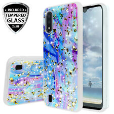 For Samsung Galaxy A01 Colorful Marble Glitter Bling TPU Case +Tempered Glass