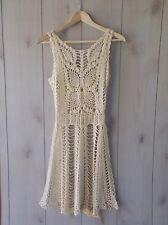 NEW $128 Macrame Crochet Dress Free People Beige Ivory XS - no slip