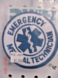 E.M.T. Shoulder Patch in White and Blue