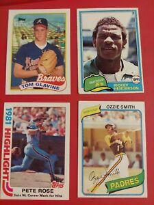 VINTAGE Baseball Card Lot PETE ROSE RICKEY HENDERSON OZZIE SMITH TOM GLAVINE