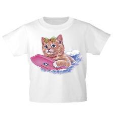 Kinder T-Shirt 152-164 mit Print Katzenmotiv Katze mit Surfbrett KA185 weiß