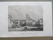 GRAVURE 1856 ITALIE LIVOURNE PLACE D'ARMES