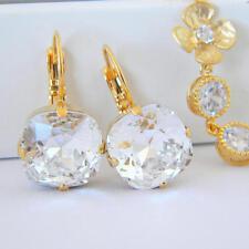 Crystal Clear Cushion Cut Square Gold Earrings Using Swarovski Elements
