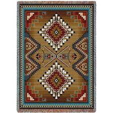 Southwest Aztec Cotton Throw Blanket Tapestry Afghan Aqua Teal Brown Red 70 X 54