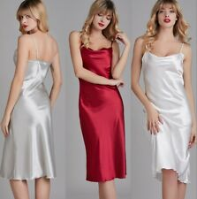 Elegant Nightdress Women Satin Long Sleepwear Deep V Nightgown Sleeveless Dress